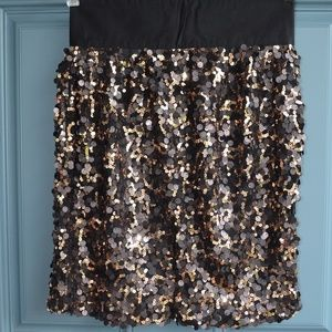 Copper/Pewter Sequined Mini Skirt by M M Couture
